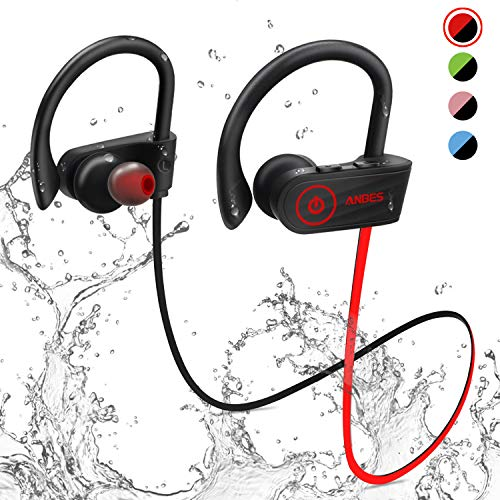 Bluetooth Headphones, Anbes Wireless Earbuds, IPX7 Waterproof Sports Earphones with Ear Hooks & Mic, HD Stereo in-Ear Earbuds Gym Running Workout, 8 Hours Battery Noise Canceling Headsets (Power Tip Bluetooth Headset)