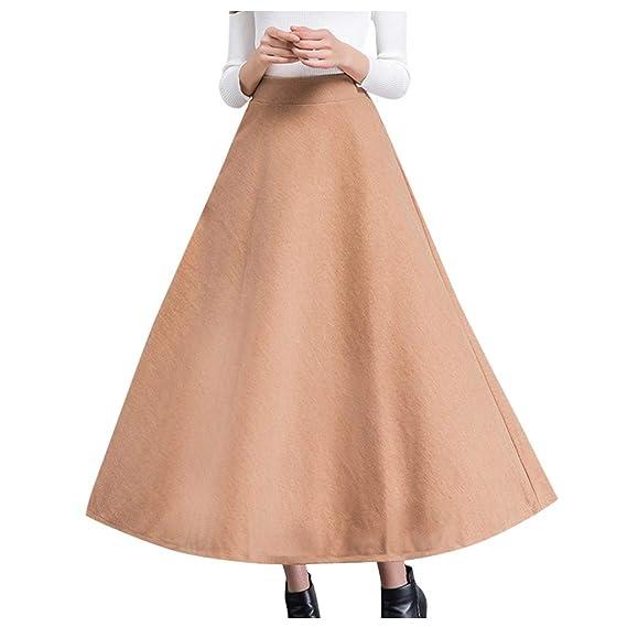 Falda Larga elástica con cinturón para Mujer, de Color sólido ...
