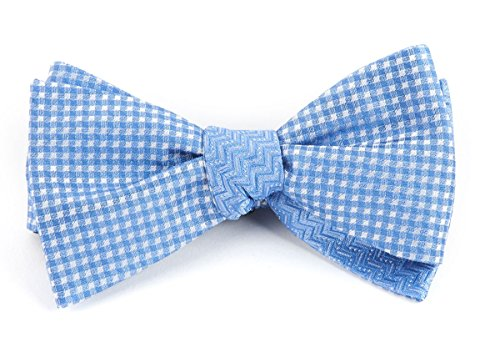 The Tie Bar 100% Woven Silk Checks Dance Light Blue Self-Tie Reversible Bow Tie ()
