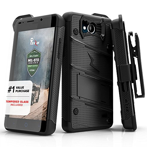 ZTE Tempo Case, Zizo [Bolt Series] w/Free [ZTE Tempo Screen Protector] Kickstand [12 ft. Military Grade Drop Tested] Holster Belt Clip - ZTE N9131 ()