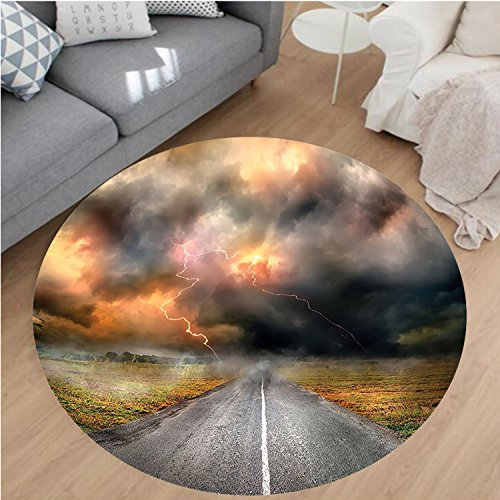 """Nalahome Modern Flannel Microfiber Non-Slip Machine Washable Round Area Rug-torm Clouds and Lightning over Highway in the Field Electrical Activity Print Orange Grey area rugs Home Decor-Round 59"""""""