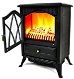 AKDY 16'' Retro-Style Floor Freestanding Vintage Electric Stove Heater Fireplace AK-ND-18D2P (Cool Black)
