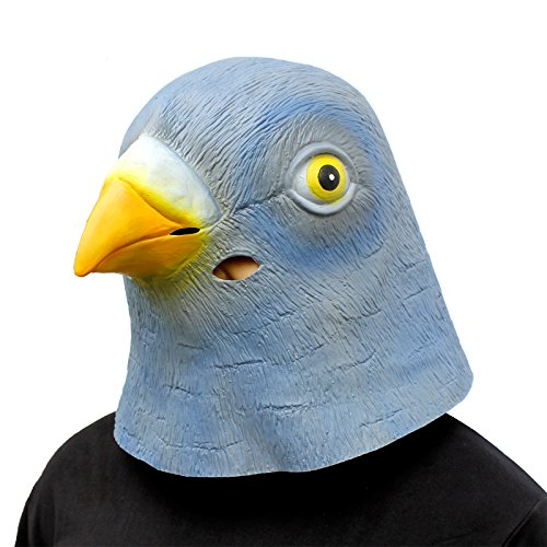 CreepyParty Novelty Halloween Costume Party Latex Birds Head Mask (Pigeon) Blue]()