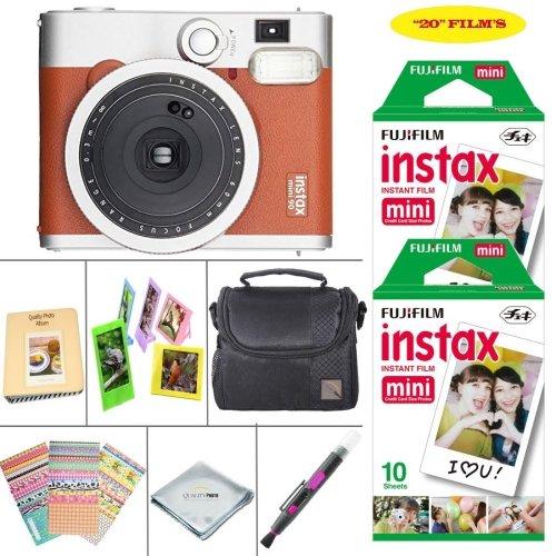 Fujifilm instax mini 90 Instant Film Camera + Fujifilm instax Film 20 Sheets + Extra Accessories Kit (Brown)