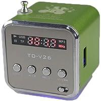 TD Mini reproductor de música MP3 digital portátil Micro SD/TF altavoz de disco USB Radio FM, Verde