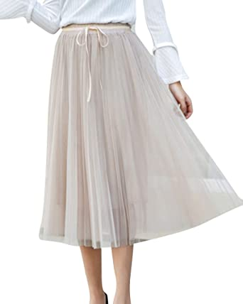 8a17f131e PengGeng Women's Vintage Party Tulle Skirt Elastic Waist Casual Pleated Skirts  Apricot One Size