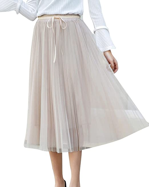 PengGeng Falda Mujer Vintage Cintura Elastica Plisada Falda Casual ...
