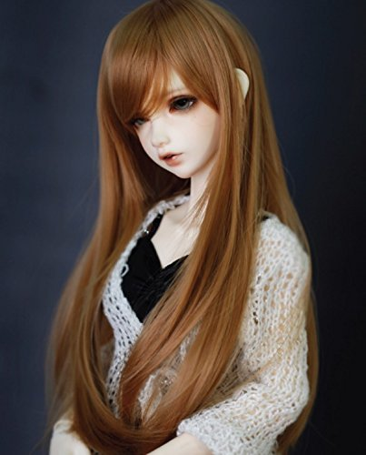 Kuafu 9-10 Inch (22-24cm) 1/3 BJD/SD Doll Wig High Quality Cute Long Straight Soft Wigs Hair Brown by Kuafu (Image #3)