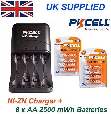 PKCELL Ni-Zn 8 x 1.6v 2500mwh Baterías AA Más Ni-Zn AA Y AAA alto rendimiento KIT CARGADOR 2PIN