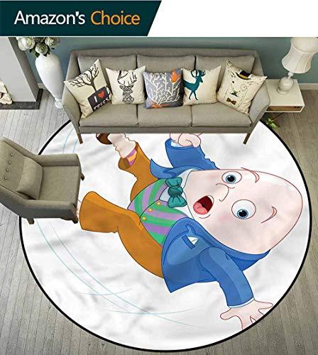 RUGSMAT Alice in Wonderland Round Kids Rugs,Humpty Dumpty Floor Mat Home Decor Round-39