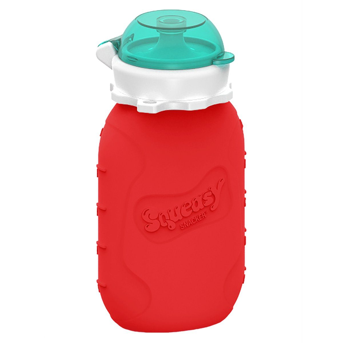 Red 6 oz Squeasy Snacker Spill Proof Silicone Reusable Food Pouch - for Both Soft Foods and Liquids - Water, Apple Sauce, Yogurt, Smoothies, Baby Food - Dishwasher Safe