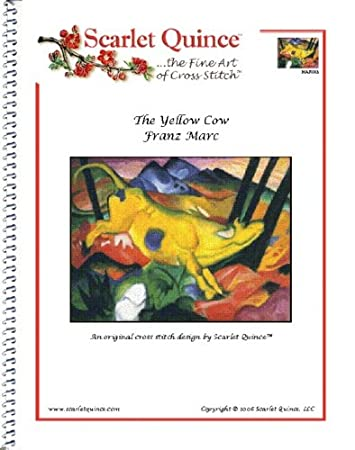 Large Size Symbols Scarlet Quince MAR003lg The Yellow Cow by Franz Marc Counted Cross Stitch Chart