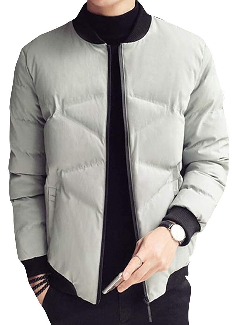 Jofemuho Mens Warm Regular Fit Full-Zip Quilted Stand Collar Winter All Puffer Jacket