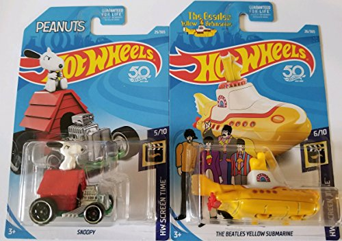 18 Hw Screen Time Peanuts Snoopy & The Beatles Yellow Submarine - Set of 2! (Snoopy Club)
