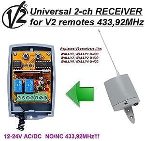 2-canales V2 Wally1,2,4 Wally1,2-U receptor, 12-24V AC/DC, NO/NC 433.92Mhz rolling code