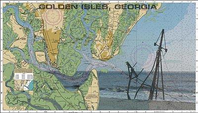 Map Of Georgia Golden Isles.Amazon Com Golden Isles Georgia Nautical Chart Unframed Vinyl Art
