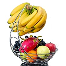 Fruit plates Basket Bowl With Banana Holder - Chrome Metal Wire Hanger by SamYoung