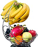 Fruit Basket With Banana Holder - Chrome Metal Wire Hanger - 14.76 inches tall