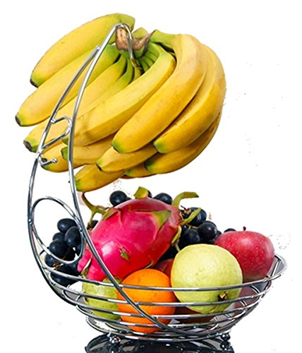 "BeautyBuddys Fruit Basket with Banana Holder, Chrome Metal Wire Hanger, 14.76"" Tall"