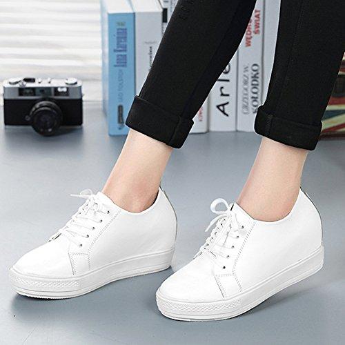 Femmes Coin Mocassins Sneaker Lacets Athlétique Chaussures De Marche Imperméable Blanc