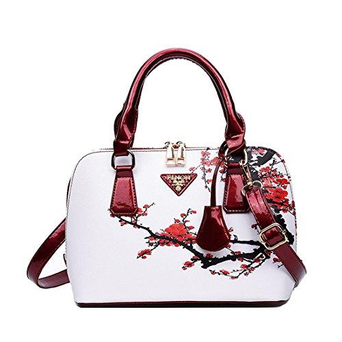 Chinois Style Sac forme bandoulière blanc Imprimée main Howoo PU femmes En violet filles Fleur coque de à Messager Sac d'épaule Sac pour gwYPY5Eq