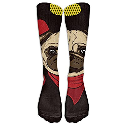 Cartoon Pug Dog Comfortable Stylish Knee High Socks For Women And Men - Best Medical, Nursing, For Running, Athletic, Edema, Diabetic, Varicose Veins, Travel, Pregnancy & Maternity
