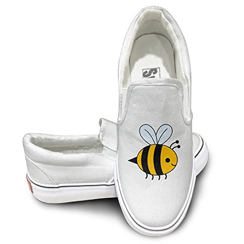 Price comparison product image PTCY Cute Bee Honey Activewear Unisex Flat Canvas Shoes Sneaker 44 White