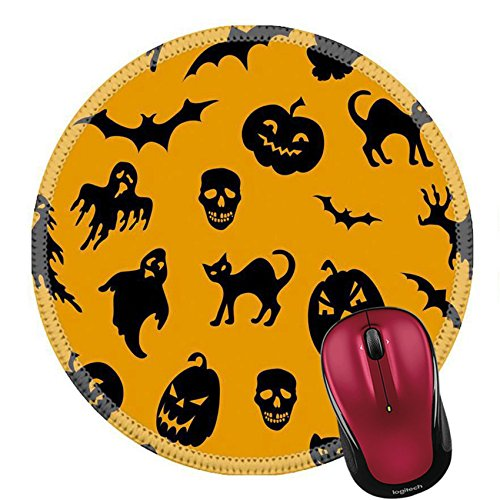 Liili Round Mouse Pad Natural Rubber Mousepad IMAGE ID: 15642620 Halloween seamless pattern with pumpkin cat ghost bat (Clipart Halloween Ghost)
