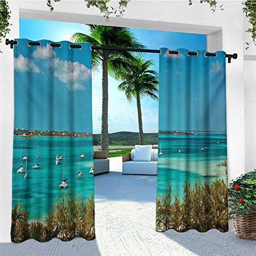 Clear Crystal Astoria (leinuoyi Sailboat, Outdoor Curtain Waterproof, Sailboats and Power Boats Anchored in Crystal Clear Waters of The Bahamas, Outdoor Curtain Set for Patio Waterproof W72 x L108 Inch Teal Blue Green)