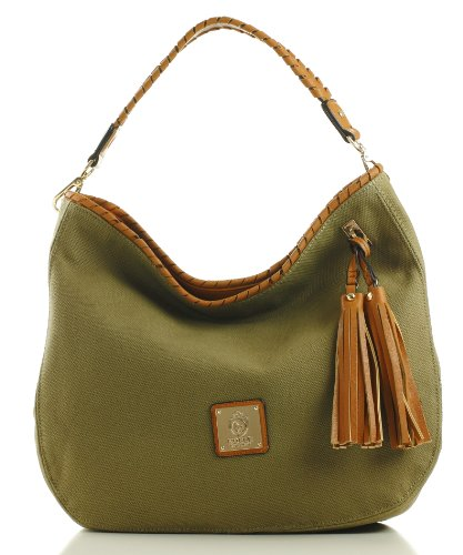 Noble Mount 'Eternity' Canvas Hobo/Handbag – Olive, Bags Central