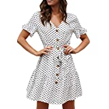 Women Summer Dot Printed Dress Short Sleeve Bandage Button Casual Beach DressGirls' Fashion by HOSOME White