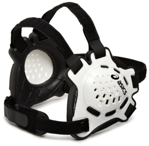ASICS Conquest Ear Guard, White/Black, One (Asics Wrestling Ear Guard)