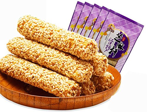 Helen Ou@ Chongqiang Speciality: Traditional Pure Handmade Sweet Taste Crispy Sesame Maltose Candy Stick Chinese Snacks 490g/17.28oz/1.08lb (Pack of 5)