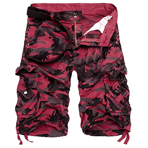 Sunyastor Camouflage Short Pants for Men,Mens Loose Fit Cargo Shorts Camo Multi Pockets Summer Outdoor Wear Beach Work Pants