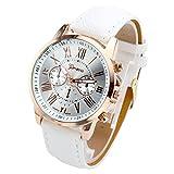 Top Plaza Fashion Women's Analog Watch, PU Leather Band Rose Gold Tone - White