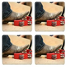Luxlady Natural Rubber Square Coasters Image ID: 42565159 Musician are using a foot knocked tambourine