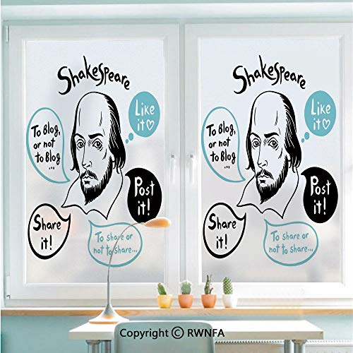 Window Film No Glue Glass Sticker Shakespeare Portrait with Speech Bubbles and Social Media Citation Illustration Static Cling Privacy Decor for Kitchen Bathroom 22.8x35.4inches,Blue Black White ()