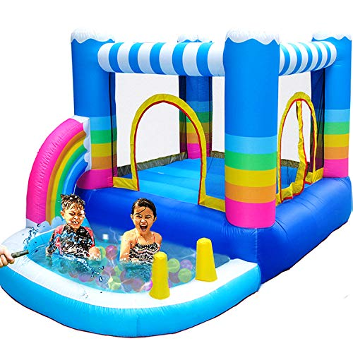 MEIOUKA Outdoor Indoor Inflatable Bounce Houses Jumper with Small Ball Water Pool 350W Blower Colorful Rainbow Inflatable Kid Bouncy House for Outdoor Indoor Kid Jumping Bouncer Party Yard Toys
