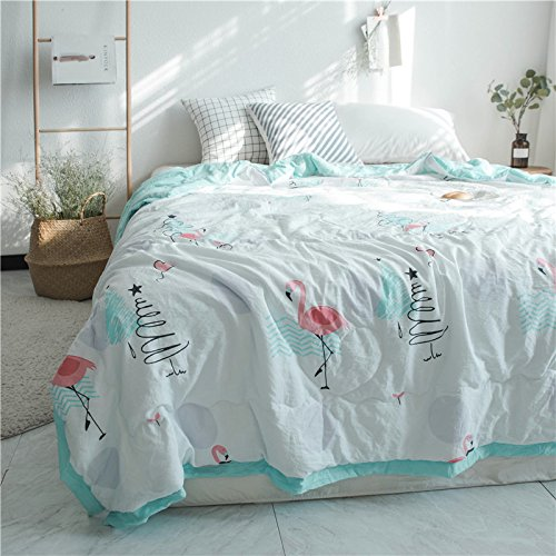 KFZ Summer Quilt Washed Cotton Comforter for Bed Set No Pillow Covers WN Twin Full Queen Princess Cute Cat Dog Animals Design for Kids Adult One Piece (Flamingo Walking,Green, Queen,78''x90'')