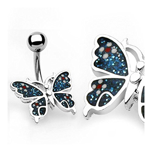 - West Coast Jewelry Surgical Steel Blue Butterfly Navel Belly Button Ring - 14GA 3/8
