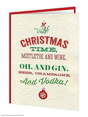 Humour Song Mistletoe Xmas Card Rude Christmas Card Funny Wine Christmas Card
