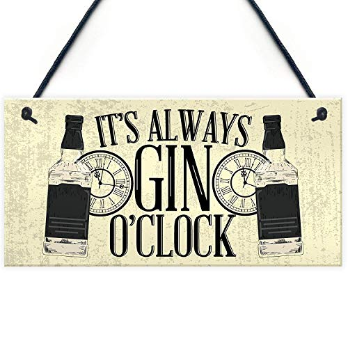 - Cheyan Gin O'Clock Friend House Warming Birthday Gift Plaque Alcohol Garden Kitchen Gin & Tonic Sign