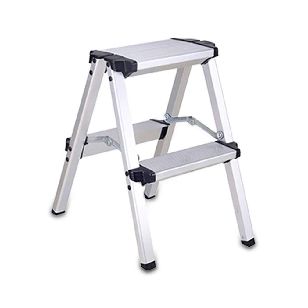 de acero 2 escalera con pelda/ños antideslizantes dimensiones: 46 x 56 x 80,5 cm color: Blanco//Gris MSV 130.003 escabeau