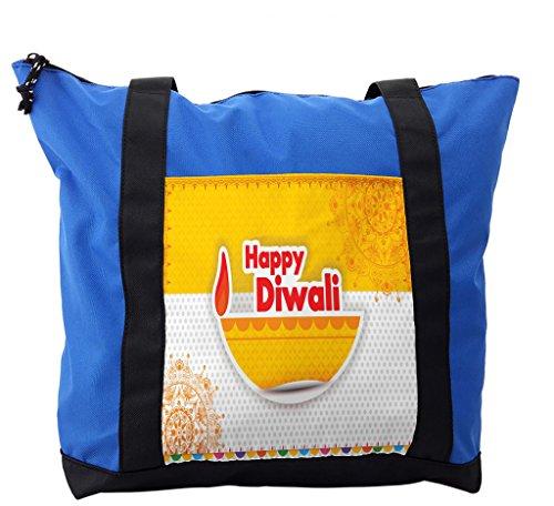 Lunarable Diwali Shoulder Bag, Colorful Holiday Celebration, Durable with Zipper by Lunarable
