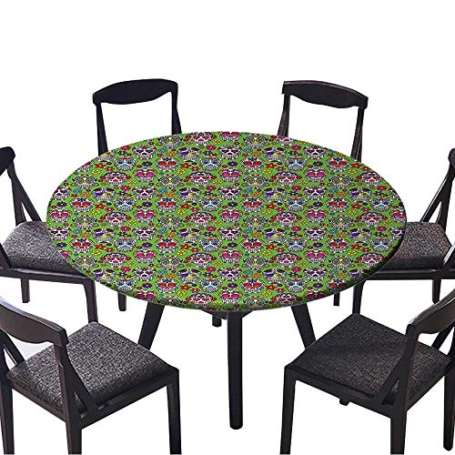 Round Fitted Tablecloth Flowers and Skulls Catholic Ceremy Artistic Bathroom Accessor or Everyday Dinner, Parties 59