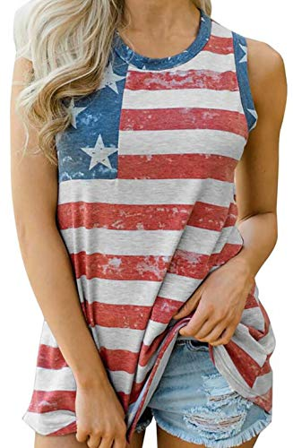 (Women's American Flag Print Tank Top Sleeveless USA Patriotic Casual T-Shirt Vest Size XL (Red))