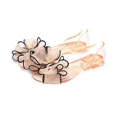 6a6438c0a Women s Girls Clear Transparent Jelly Sandals Shoes Fashion Summer Beach  Fancy Flower Flat Rian Slipper Beige