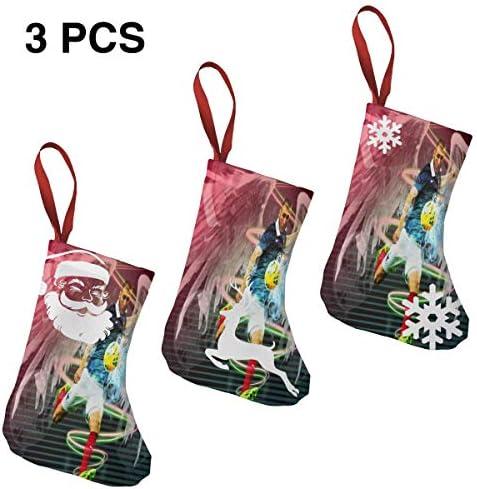 クリスマスの日の靴下 (ソックス3個)クリスマスデコレーションソックス フランスサッカー クリームベンゼマ クリスマス、ハロウィン 家庭用、ショッピングモール用、お祝いの雰囲気を加える 人気を高める、販売、プロモーション、年次式