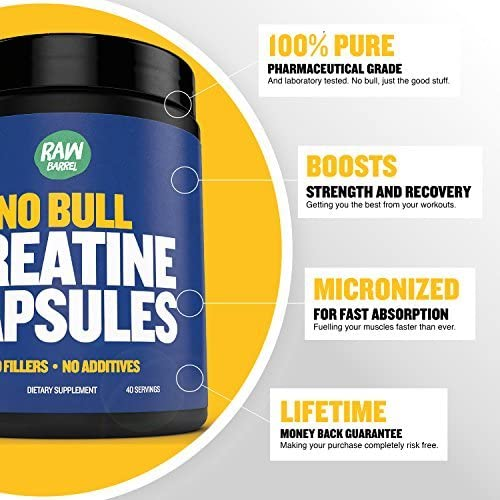 Creatine Monohydrate Capsules – Faster Recovery, Increase Muscle Volume, Strength, Power – Micronized for Fast Absorption – 4200 milligrams Pure Pharmaceutical Grade, 240 Capsules – Raw Barrel