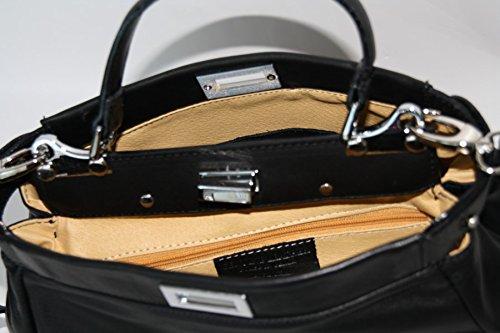 Leder Tasche Umhängetasche Nappaleder Leder in Grün Italy
